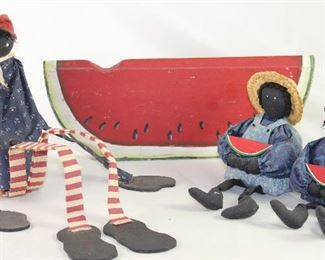 Black Americana Hand Crafted Collection:  Wood & Cloth Daddy Long Leg Shelf Sitter Doll, Hand Painted Wooden Watermelon and Boy & Girl Bean Bag Dolls
