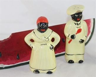 "Vintage Mammie ""Peppy"" & Pappy ""Salty"" Shakers Shown with Wooden Hand Painted Watermelon"