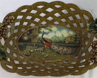 "Castilian Imports Large Decorative Lattice Work Bowl with Raised Bunches of Grapes ant Peacock Scene (22"" x 13.5"")"