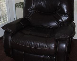 Manwah Dark Brown Saddle Stitched Faux Leather Power Recliner (2 ea.)