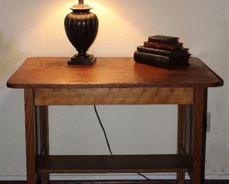 "Antique Mission Oak Library Table/Desk  (29.5""H x 36""W x 24""D).  Also so Shown with Urn Style Table Lamp and Staked Books Box"