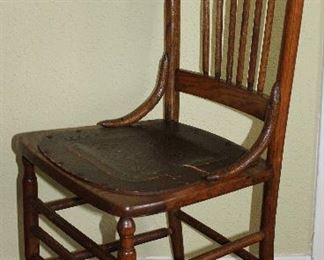 Antique Oak Spindle Back Rabbit Ear Chair with Embossed Leather Seat (2 ea.)