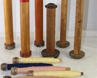 Collection of Large Antique Wooden Spools and Wooden Spindles Complete with Thread