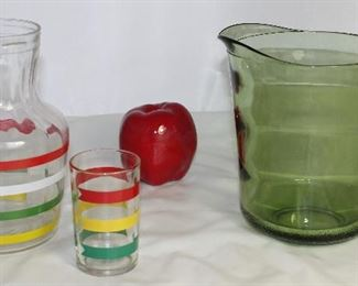 Vintage Primary Stripe Juice/Water Jug and Tumbler.  Shown with Ceramic Apple and Vintage Avocado Green Glass Pitcher