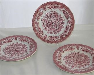 "Royal Staffordshire ""Avondale Pink"" Ironstone Transfer Ware Dessert/Pie Plates by J & G  Meakin England (3 ea.)"