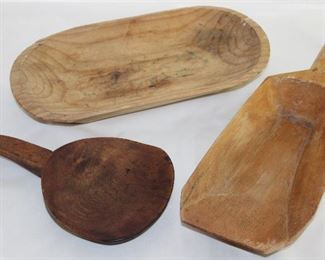 "Vintage Hand Crafted Wooden Oval Bowl (13"" x 6 1/2""), Wooden Butter Paddle (10"" x 5 1/2"") and Wooden Shuttle (14 3/4""L x 5 1/4""W)"