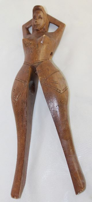 "Wooden Hand Carved Nude Women Nut Cracker (14""L)"
