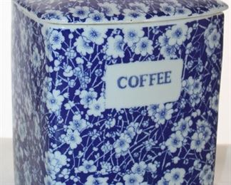 "Blue & White Floral Large Ironstone Coffee Canister (9.5"" x 7"" x 5"")"