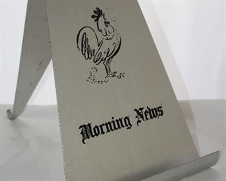 "Vintage Aluminum ""Morning News"" Double Sided Stand w/ ""Wife's Side"""