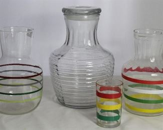 Vintage Juice/Water Jugs Collections: Maroon& Green Thin Multi Stripe Jug, Anchor Hocking Clear Ringed Jug w/Lid and Anchoring Multi Stripe Primary Color Jug and Juice Glass