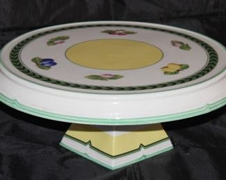 "Villeroy & Boch ""French Garden Fleurence"" Large Round Pedestal Cake Stand (15""D x 6""H)"