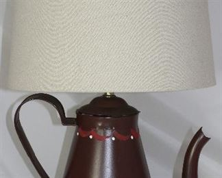 Tole Painted Tin Coffee Pot Lamp