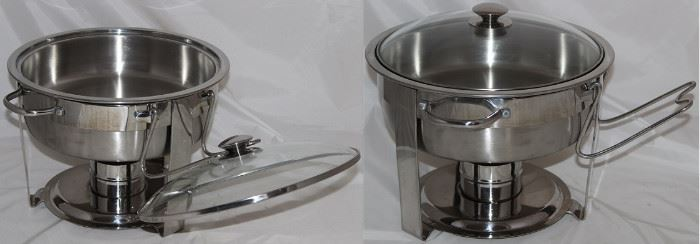 Large Stainless Chaffing and Glass Lid with Burner and Lid Caddy