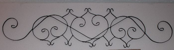 "Vintage Architectural Black Wrought Metal Scroll Work  (68"" x 15"")"