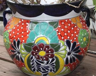 "Closeup view of pot: Talavera Pottery Hand Painted Mexico Large Planter With Hibiscus (13""H x 13.3""W)"