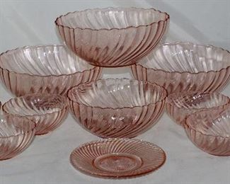 "Arcoroc France Pink Swirl Bowl Collection: Large 9"" Salad/Berry Bowl(3 ea.), Medium 7 1/4"" Vegetable Serving Bowl and Individual Salad/Berry Bowls (6 ea.)"