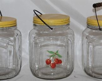 Owens-Illinois Glass Co. Gallon Bail Handle Jars with Yellow Lids