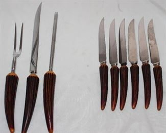 Crown Crest Sheffield England Stainless Blades with Faux Stag Handles: 3 piece Carving Set and 6 Steak Knives
