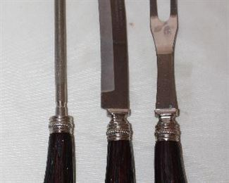 Washington Forged Stainless Bakelite Faux Stag Handle 3 Piece Carving Set
