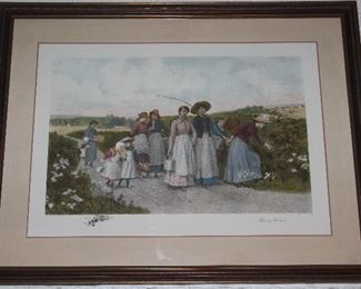 """The Berry Pickers"" by Jennie Brownscombe Colored Aquatint Etching James S. King  Matted and Framed (44.5"" x34.5"")"