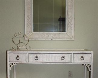 "Hekman Furniture Co. Lexington NC :  White Wicker Console Table (46""W x 15""D x 32""H) And a Matching Wall Mirror (32""W x46""H)"