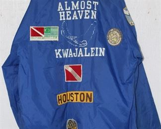 """Almost Heaven"" Kwajalein, Marshall Islands"" Scuba Club Blue Man's Wind Breaker with Patches"