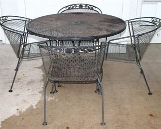 "Black Metal Mesh Round Patio Table (42""W x 28.5""H) and 4 Captain Chairs"