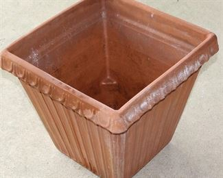"Large Italian Terracotta Square Planters (16""H x 17""W) 2nd available with Potted Begonias"