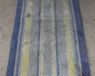 "Blue and Yellow Rag Rug Runner (26.5"" x 108"")"