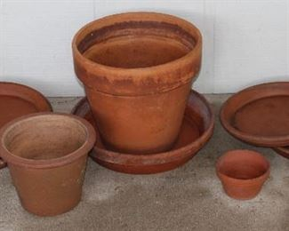 Various Terracotta Planters and Under Plates