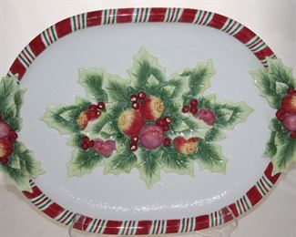 "Fits and Floyd Large Pomegranate Christmas Platter (18""L x 13.5""W)"