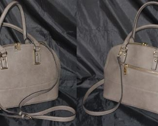 Miztique Taupe Leather Purse.  Photo showing front and back