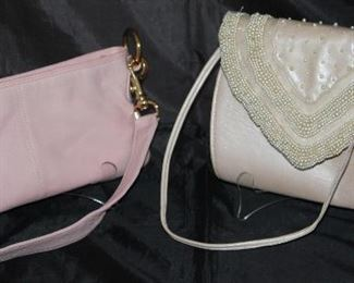 Vintage Pink  Leather, File Line Clutch           J. Rene' Pearl Embellished Oyster Pin Leather Handbag ( Matching Shoes, not shown)