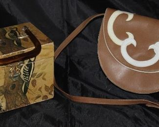 Vintage Decoupaged Wooden Lunchbox Purse and Vintage Rayne Leather Taupe with White Appliqué Purse