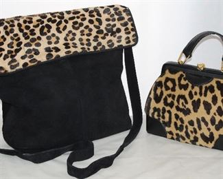 Gino Black Suede with Stamped Pony Hair Fold-over Flaps and Snap Closure                    Vintage Black Leather With Leopard Trim Handbag