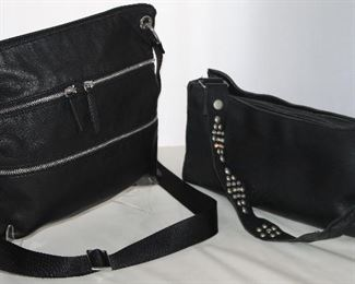 Margot Multi Pocket Black Leather Cross Body Bag  and A 2-Bar West Black Leather with interchangeable Shoulder Straps;  Rhinesone / Studded or Black & White Horse Hair