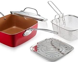 "Gotham Steel Red Titanium Ceramic 9.15"" Non-Stick Copper Deep Square Frying Pan with Lid, Frying Basket, Streamer Tray (4 piece set)"