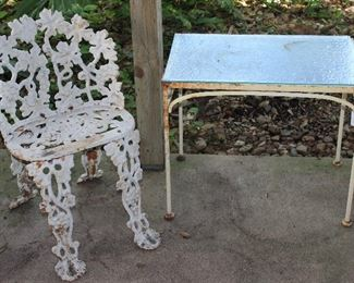Vintage Cast Iron Grape & vine Design Garden Chair shown with Glass Top Iron Frame Side Table