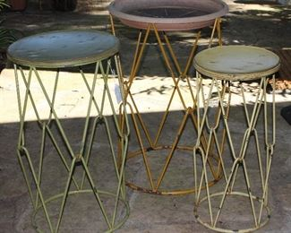 Mid-Century Hair Pin Linked Metal Base Drum Style Tables:  Set of 3 Graduated Sizes.  Orange, Green and Yellow