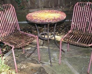 Vintage Red Banded Lawn/Patio Chairs and Tile Top Small Bistro Table