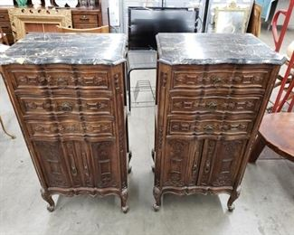 Antique made in Italy Gothic marble top commodes / cabinets