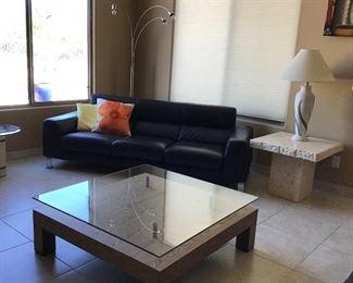 Black Sofa x 2  $115 ea                                                               Coffee Table w Raised Glass $125                                       Stone End Table $59/pr                                                           Table Lamp $36