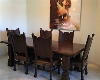 Dining Table w Added Leaf and 6 Chairs $695