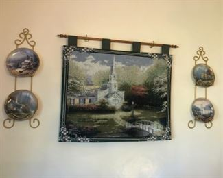 Dining Room Lot #5 Scenes of Religion Churches Holders and Plates $40.00