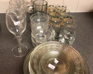Kitchen Lot #3 Etched glass, wine glasses (5) juice glasses (9) $10.00