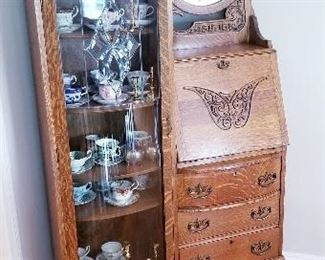$250 ob.o GORGEOUS ANTIQUE SECRETARY DESK/ CURIO CABINET HAND CARVED, BEVELVED MIRROR DIMENSIONS 38WX 77H X14 D