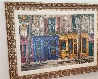 $275 - BEAUTIFUL SERIGRAPH OF FRENCH SCENE, SIGNED & NUMBERED BY LIUDMILA KONDAKOVA. ORIGINALLY PURCHASED AT MARTIN LAWRENCE GALLERY CERTIFICATE OF AUTHENTICITY IN THE BACK DIMENSIONS 45 w x 34 h