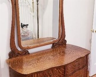 $195 OBO----ANTIQUE OAK VANITY DRESSER WITH BEVELED MIRROR DIMENSIONS 37W X 75H X14 D