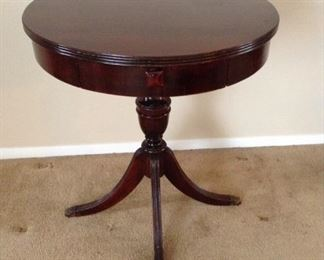 "Brandt Furniture Mahogany Single Drawer Drum Table $175 **Pic 1**   Measures 24""d and 27""h, has claw feet and one drawer."