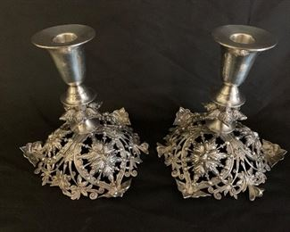 $650  Sterling Silver English 1860s Candle Sticks. Hallmarks in next pic